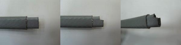снятие защитного экрана у греющего кабеля