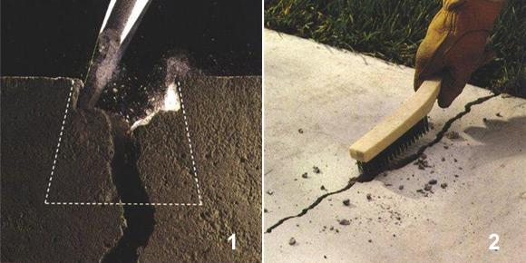 ремонт трещин в бетонном поле